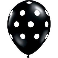 Qualatex Balloons Big Polka Dots Onyx Black 28cm 25 count
