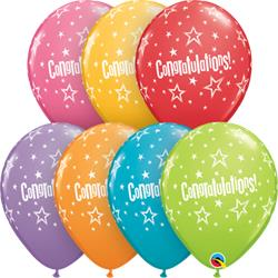 Congratulations Star Patterns 28cm printed latex balloon. Festive assortment