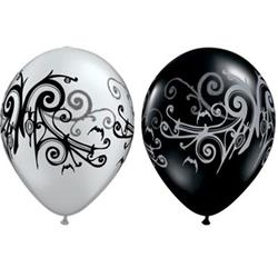 Qualatex Balloons Gothic Scroll Silver and Onyx Black 28cm   25 count