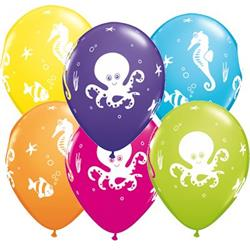 Qualatex Balloons Fun Sea Creatures Tropical Assortment 28cm   25 count