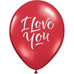 Qualatex Balloons Love You Script Modern - Ruby Red 28cm