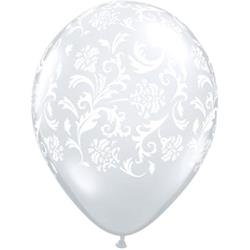 Qualatex Balloons Damask Print Diamond Clear with White Print 28cm
