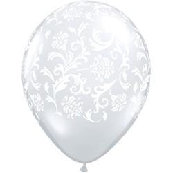 Qualatex Balloons Damask Print Diamond Clear with White Print 28cm