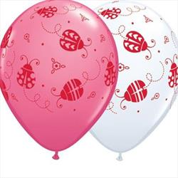 Qualatex Balloons Ladybugs Rose and White Asst 28cm  25 count