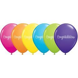 Qualatex Balloons Congratulations Classy Script Tropical Asst 28cm