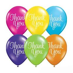 Qualatex Balloons Thank you Classy Script Tropical Asst 28cm