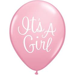 Qualatex Balloons It's A Girl Classy Script Pink 28cm