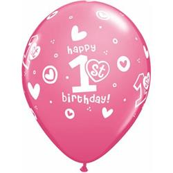 Qualatex Balloons 1st Birthday Circle Stars Girl 28cm
