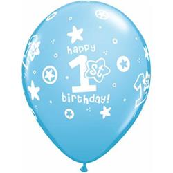 Qualatex Balloons 1st Birthday Circle Stars Boy 28cm 25 count