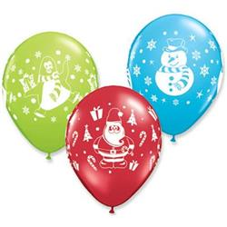 Qualatex Balloons Snowman, penquin & Santa Asst  28cm 25 count