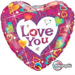 Qualatex Balloons Love You Vibrant Hearts 45cm
