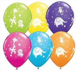 Qualatex Balloons Cute and Cuddly Jungle Animals 28cm