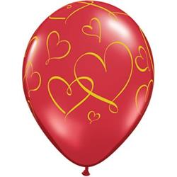 Qualatex Balloons Romantic Hearts Ruby Red w Gold Ink 28cm