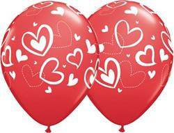 Qualatex Balloons Mix N Match hearts Red 28cm