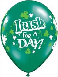 Qualatex Balloons Irish For A Day Double Print Emerald Green 28cm