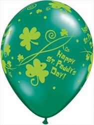 Qualatex Balloons Happy St Paddy's Day Shamrock Swirls 28cm.