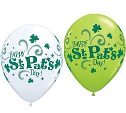 Qualatex Balloons St Pats Get Your Green On asst White & Lime 28cm