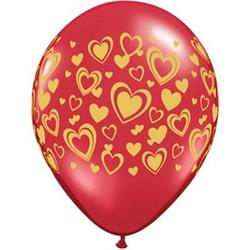Qualatex Balloons Double Hearts Around Ruby Red with Gold Ink 28cm