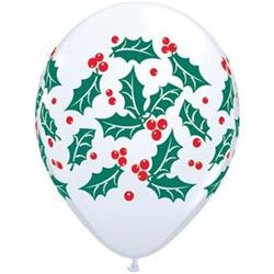 Qualatex Balloons Holly & Berries 28cm. 25 count