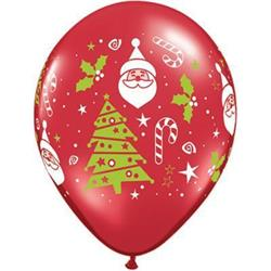 Qualatex Balloons Santa & Christmas Tree 28cm Ruby Red 25 count