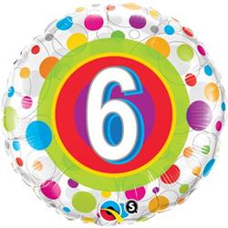 Qualatex Balloons Age 6 Colourful Dots 45cm
