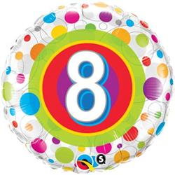 Qualatex Balloons Age 8 Colourful Dots 45cm