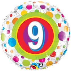 Qualatex Balloons Age 9 Colourful Dots 45cm