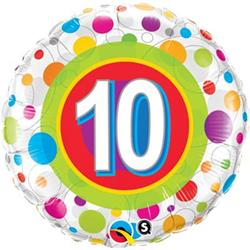 Qualatex Balloons Age 10 Colourful Dots 45cm