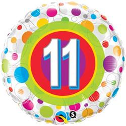 Qualatex Balloons Age 11 Colourful Dots 45cm