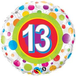 Qualatex Balloons Age 13 Colourful Dots 45cm