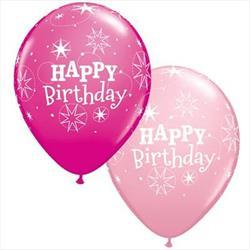 Qualatex Balloons Birthday Sparkle Pink Asst 28cm