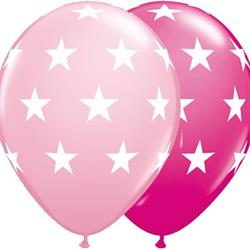 Qualatex Balloons Big Stars Pink and Wild Berry 28cm