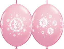 Quicklink Balloons Pink Baby Girl Dots 30cm Qualatex