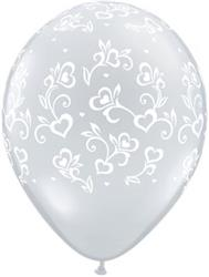 Qualatex Balloons Dainty Hearts Around Diamond Clear 28 cm