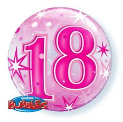 18 Pink Starburst Sparkle Bubble 55cm