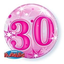 30 Pink Starburst Sparkle Bubble 55cm