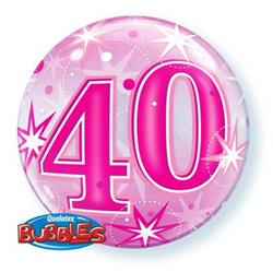 40 Pink Starburst Sparkle Bubble 55cm