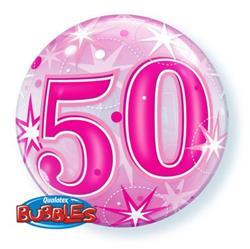 50 Pink Starburst Sparkle Bubble 55cm