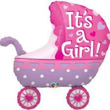 Its A Girl baby Stroller Foil Helium shape 88cm