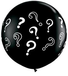 Qualatex Balloons ? Question Marks Onyx Black 90cm