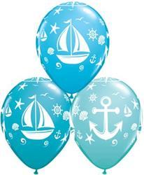 Qualatex Balloons Nautical Sailboat and Anchor 28cm