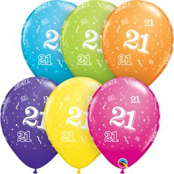Qualatex Balloons 21 Around Tropical Assorted 28cm