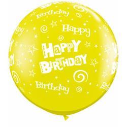 Qualatex Balloons Birthday Stars and Swirls Citrine Yellow 90cm