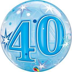 40 Blue Starburst Sparkle Bubble 55cm
