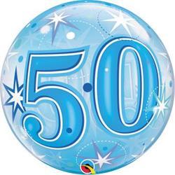 50 Blue Starburst Sparkle Bubble 55cm