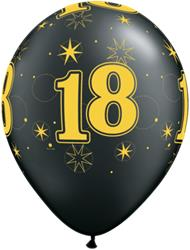 Qualatex Balloons 18 Pearl Onyx Black Sparkle A-round 28cm 25cnt