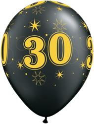 Qualatex Balloons 30 Pearl Onyx Black Sparkle A-round 28cm 25cnt