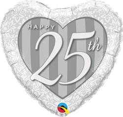 Qualatex Balloons Happy Anniversary Heart 25th stripes 45cm