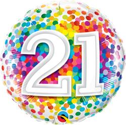 Qualatex Balloons 21 Rainbow Confetti 45cm NEW