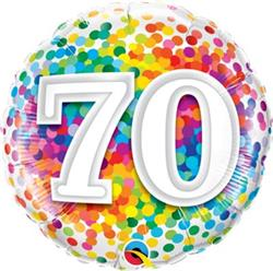 Qualatex Balloons 70 Rainbow Confetti 45cm